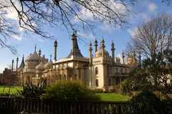 Royal Pavilion Brighton. Brighton's Royal Pavilion from the Old Stein showing some of the recently restored John Nash gardens royalty free stock images