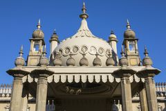 Royal Pavilion in Brighton. A view of the historic Royal Pavilion, located in the city of Brighton in Sussex, UK. It is built in the Indo-Saracenic style stock images