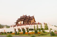 Royal pavilion,generality in chiangmai thailand. Any kind of art decorated in buddhist church,temple pavillion temple hall etc they are public domain or Stock Photography