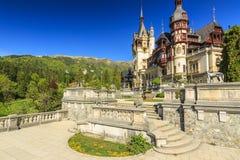 Royal Peles Castle and beautiful garden,Sinaia,Romania. Luxury museum and artistic garden,Peles Castle,Sinaia,Romania Stock Photos