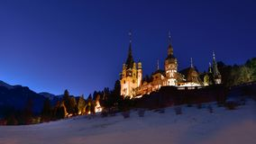 Royal Peles Castle in Sinaia city in the Carpathian mountains. At night , old castle , royal castle of kings of  Romania Stock Images