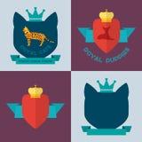 Royal pets flat badges Stock Photos