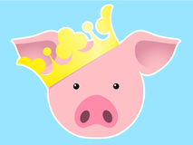 Royal pig with crown Stock Image