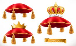 Royal pillow and crown. 3d vector icon set. On white background Stock Photos