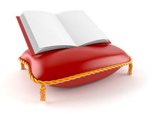 Royal pillow with empty book. Isolated on white background Royalty Free Stock Photography