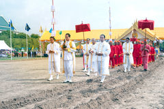 The Royal Plowing Ceremony in Thailand. BANGKOK, THAILAND - MAY 13,2015 : Unidentified Government officials scatter the water attend the ceremony -Perform for Stock Images