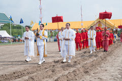 The Royal Plowing Ceremony in Thailand. BANGKOK, THAILAND - MAY 13,2015 : Unidentified Government officials scatter the water attend the ceremony -Perform for Royalty Free Stock Photos
