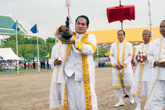 The Royal Plowing Ceremony in Thailand. BANGKOK, THAILAND - MAY 13,2015 : Unidentified Government officials scatter the water attend the ceremony -Perform for Royalty Free Stock Images
