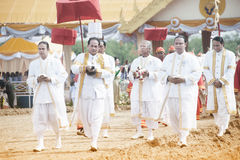 The Royal Plowing Ceremony in Thailand. BANGKOK, THAILAND - MAY 13,2015 : Unidentified Government officials scatter the water attend the ceremony -Perform for Royalty Free Stock Image