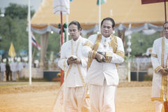 The Royal Plowing Ceremony in Thailand. BANGKOK, THAILAND - MAY 13,2015 : Unidentified Government officials scatter the water attend the ceremony -Perform for Stock Photo
