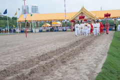The Royal Plowing Ceremony in Thailand. BANGKOK, THAILAND - MAY 13,2015 : Unidentified Government officials scatter the water attend the ceremony -Perform for Royalty Free Stock Photography
