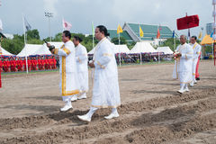 The Royal Plowing Ceremony in Thailand. BANGKOK, THAILAND - MAY 13,2015 : Unidentified Government officials scatter the water attend the ceremony -Perform for Stock Photography