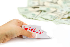 Royal poker in hand Royalty Free Stock Image