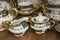 Royal porcelain dining tableware set Stock Photo