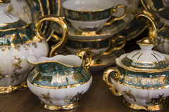 Royal porcelain dining tableware set Stock Photography