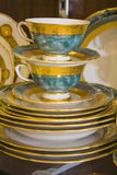 Royal porcelain dining tableware set Royalty Free Stock Image