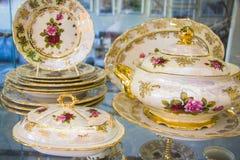 Royal porcelain dining tableware set Royalty Free Stock Photo