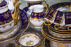 Royal porcelain dining tableware set Stock Photos