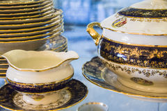 Royal porcelain tea tableware set Stock Photos