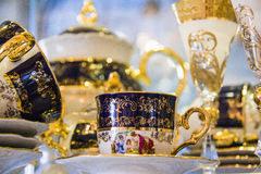 Royal porcelain tea tableware set Stock Images