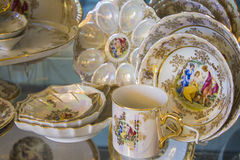 Royal porcelain tea tableware set Royalty Free Stock Photo