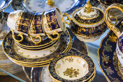 Royal porcelain tea tableware set Stock Photography