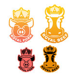 Royal pork and beef logo. Cow in crown. Pig in diadem. Excellent Stock Photography