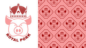 Royal Pork logo. Pig in crown. Logo for production of meat.  Stock Photos