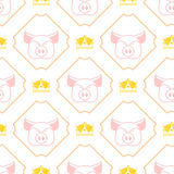 Royal pork seamless pattern. Pig and crown regal background.  Stock Images