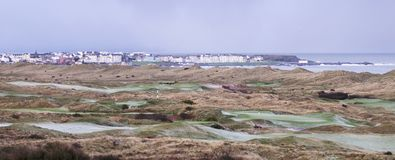 Royal Portrush view across the links with Portrush in the Background