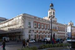 Royal Post Office at Puerta del Sol in Madrid, Spain. MADRID, SPAIN - JANUARY 22, 2018: Royal Post Office at Puerta del Sol in Madrid, Spain Royalty Free Stock Image