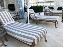Royal Princess cruise ship deck - 12/10/17 - Relaxing, lounge chair area on the Royal Princess cruise ship. Relaxing, lounge chair area on the Royal Princess royalty free stock photos