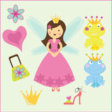 Royal princess and the frog. Fairy princess with her wardrobe and some supporting graphics including a frog prince Stock Photo