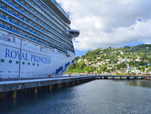 Royal Princess ship in Dominica. DOMINICA, CARIBBEAN - MARCH 24, 2017 : Royal Princess ship docked in Roseau port. Royal Princess is operated by Princess Cruises royalty free stock photography
