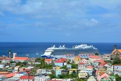Royal Princess ship in Grenada. GRENADA, CARIBBEAN - MARCH 25, 2017 : Royal Princess ship in Saint George port. Royal Princess is operated by Princess Cruises royalty free stock photography