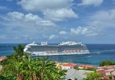 Royal Princess ship in Grenada. GRENADA, CARIBBEAN - MARCH 25, 2017 : Royal Princess ship in Saint George port. Royal Princess is operated by Princess Cruises stock photo
