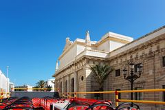 Royal Prison building in Cadiz. Royal Prison building seen from the excursion bus, Cadiz of Andalusia, Spain stock photography