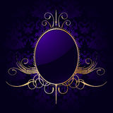 Royal purple background with golden frame. Vector Royalty Free Stock Image