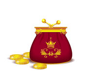Royal purse with coins Stock Photos