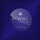 Royal quality label. Royal premium quality label. Glass badge with silver text, Luxury emblem Stock Photo