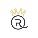 Royal Queen letters and crown logo. Minimal illustration with letter R blended with Q and crown that can be used for logo or as isolated graphic element Royalty Free Stock Photography