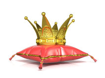 Royal red pillow and golden crown Royalty Free Stock Photography