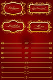 Royal Red Retro Decorative Elements IV Royalty Free Stock Photo