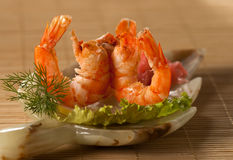 Royal Red Shrimps. With greens stock image