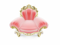 Royal red velvet furniture. Isolated red royal velvet armchair Stock Photography