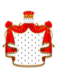 Royal red velvet mantle with golden crown Stock Images