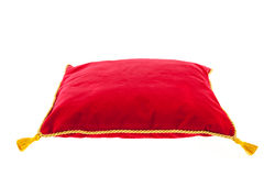 Royal red velvet pillow Royalty Free Stock Photos
