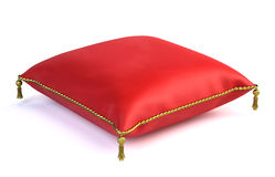 Royal red velvet pillow. On white Stock Image
