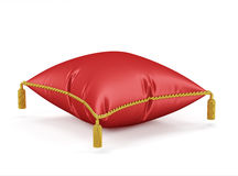 Royal red velvet pillow  on white background. 3d render of Royal red velvet pillow  on white background Royalty Free Stock Photography