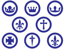 Royal and religion signs. Isolated on white Stock Photos